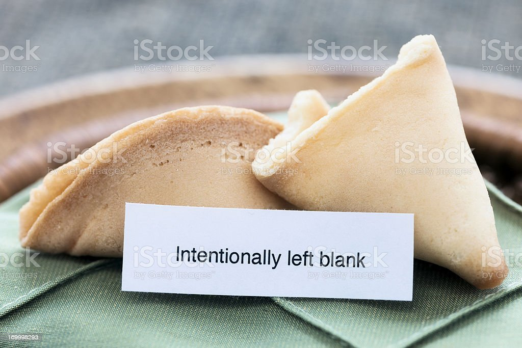 "Fortune Cookie: ""Intentionally left blank"" royalty-free stock photo"