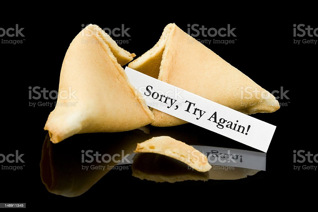 Fortune cookie: 'Sorry, Try Again!' royalty-free stock photo