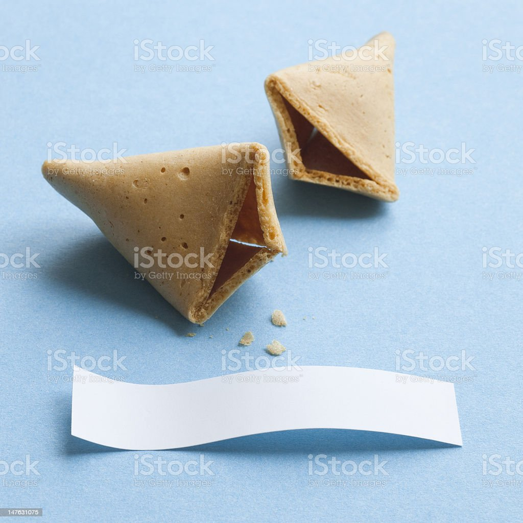 Fortune cookie with blank message stock photo