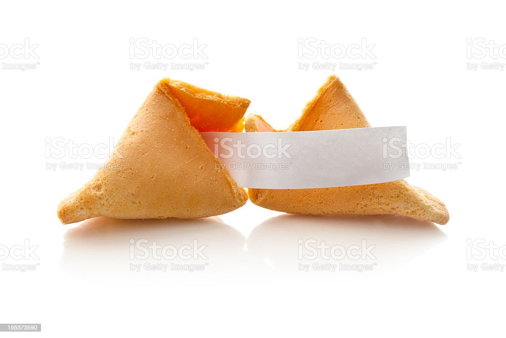 Fortune cookie with blank paper stock photo