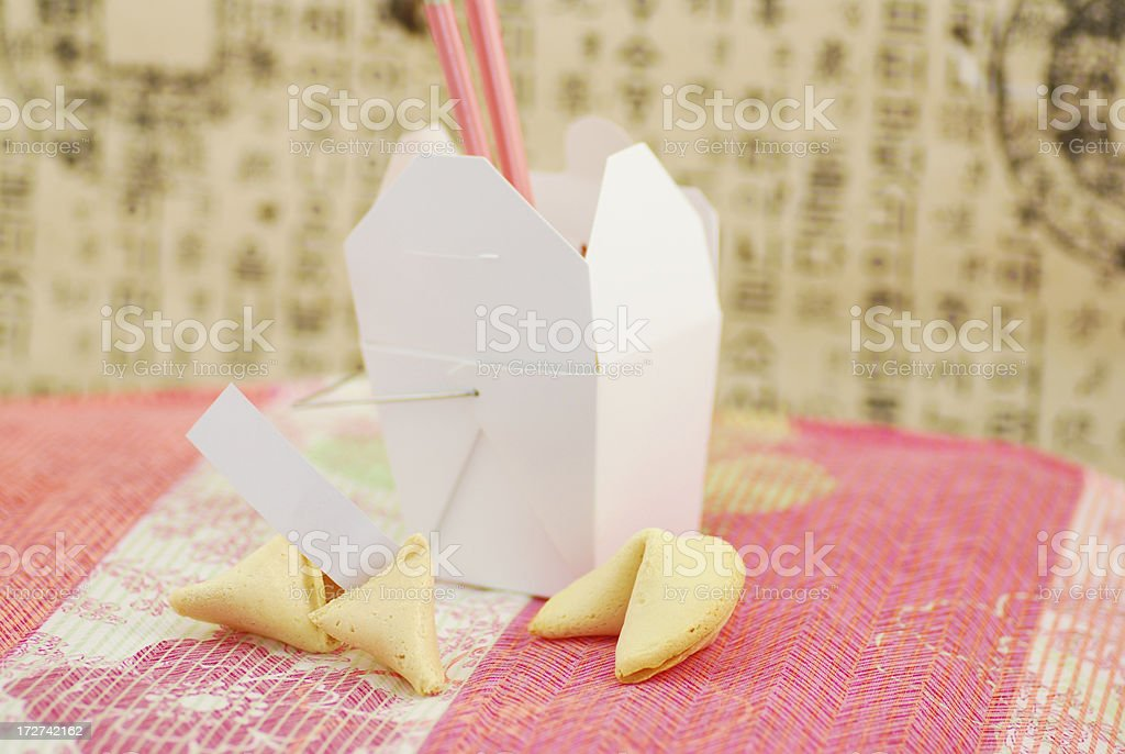 Fortune Cookie with Chinese Food royalty-free stock photo