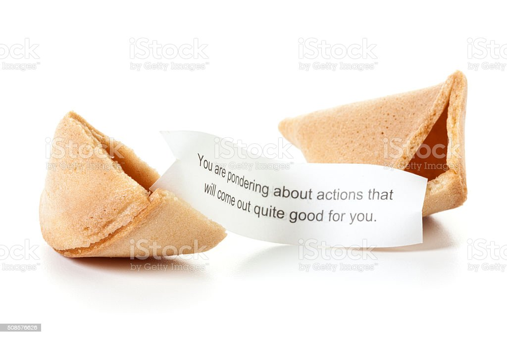 Fortune cookie with positive message isolated stock photo