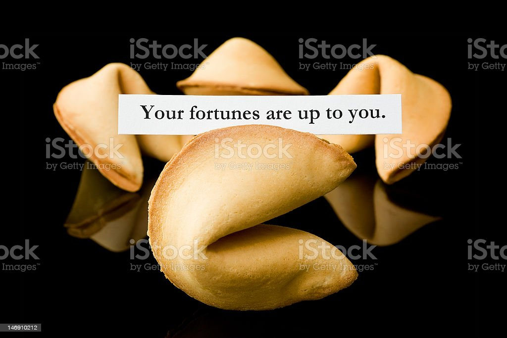 Fortune cookie: 'Your fortunes are up to you' royalty-free stock photo
