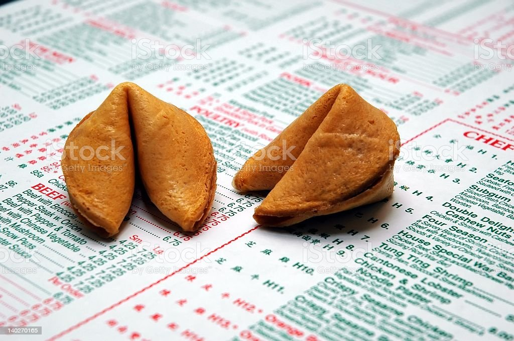 Fortune Cookies and Menu stock photo