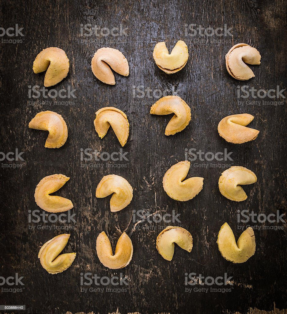 fortune Cookies selection laid , top view stock photo