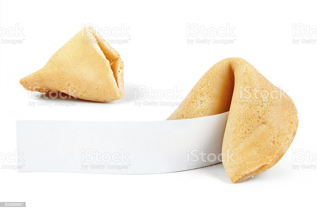 Fortune Cookies with blank paper stock photo