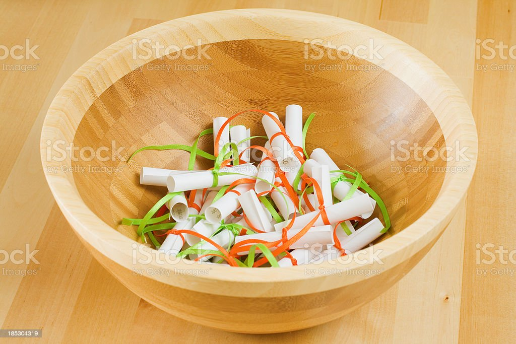 Fortune papers in a bowl royalty-free stock photo