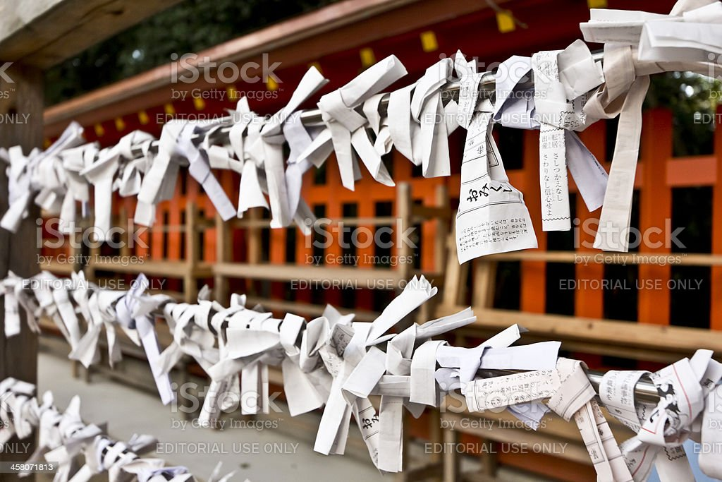 Fortune Slips Tied at a Japanese Shrine royalty-free stock photo