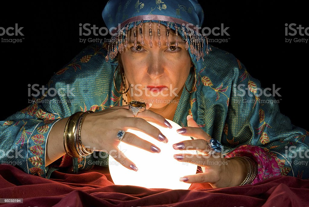 Fortune Teller and Crystal Ball stock photo