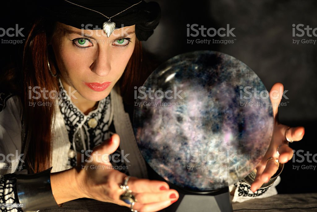 fortune teller crystal ball stock photo