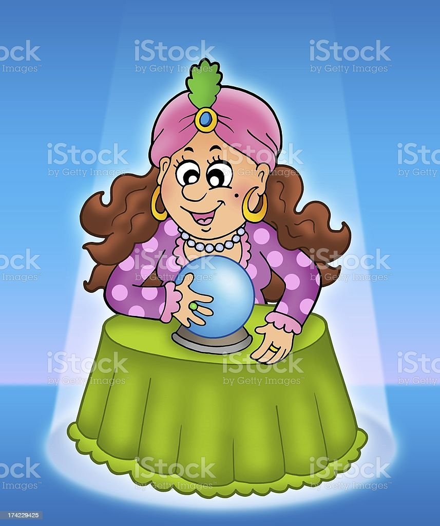 Fortune teller in limelight royalty-free stock photo