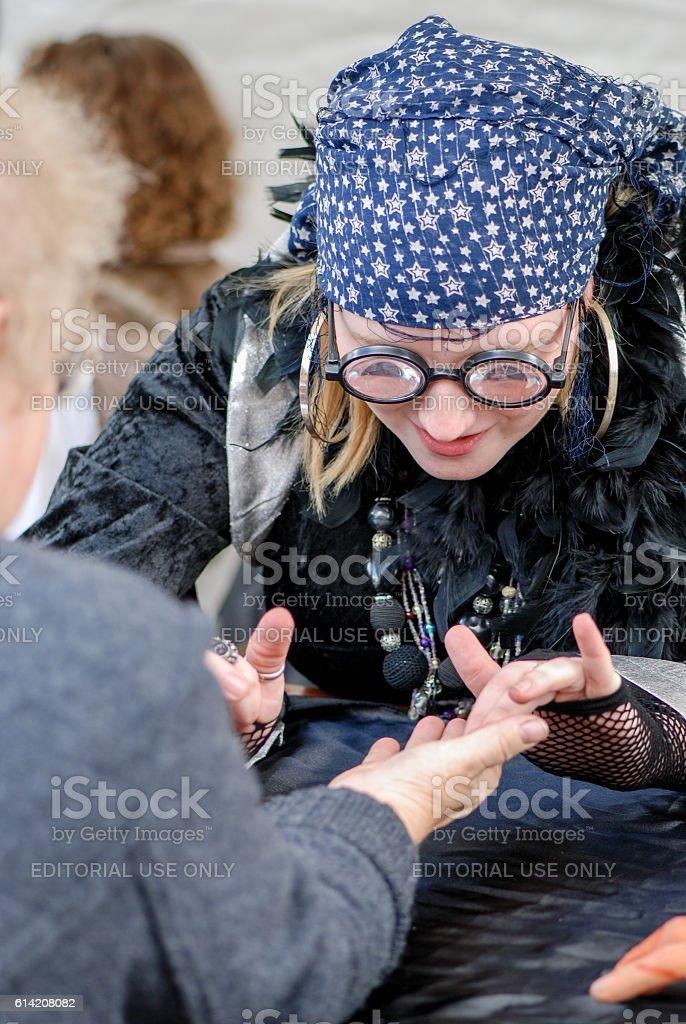 Fortune teller palm reading stock photo