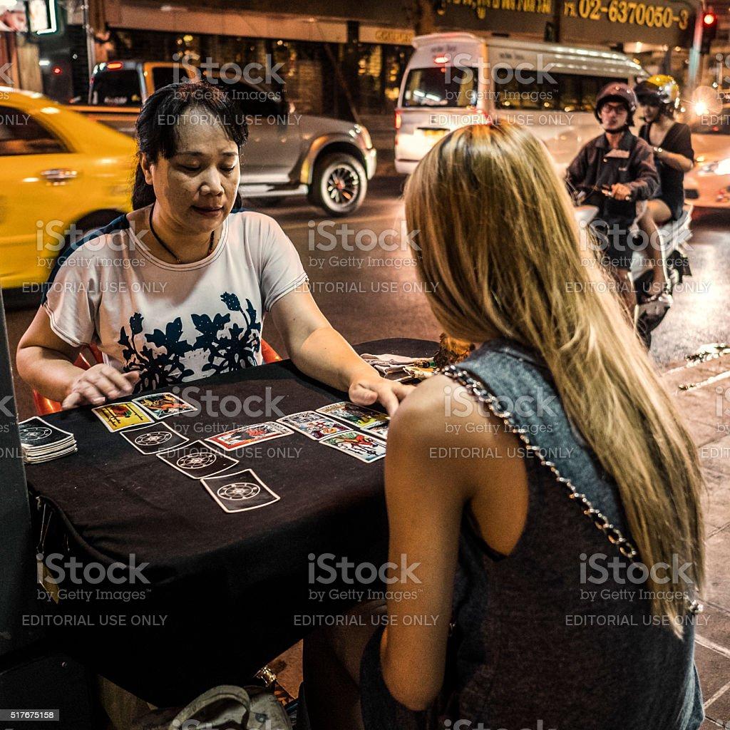 Fortune teller Patpong Bangkok Thailand stock photo