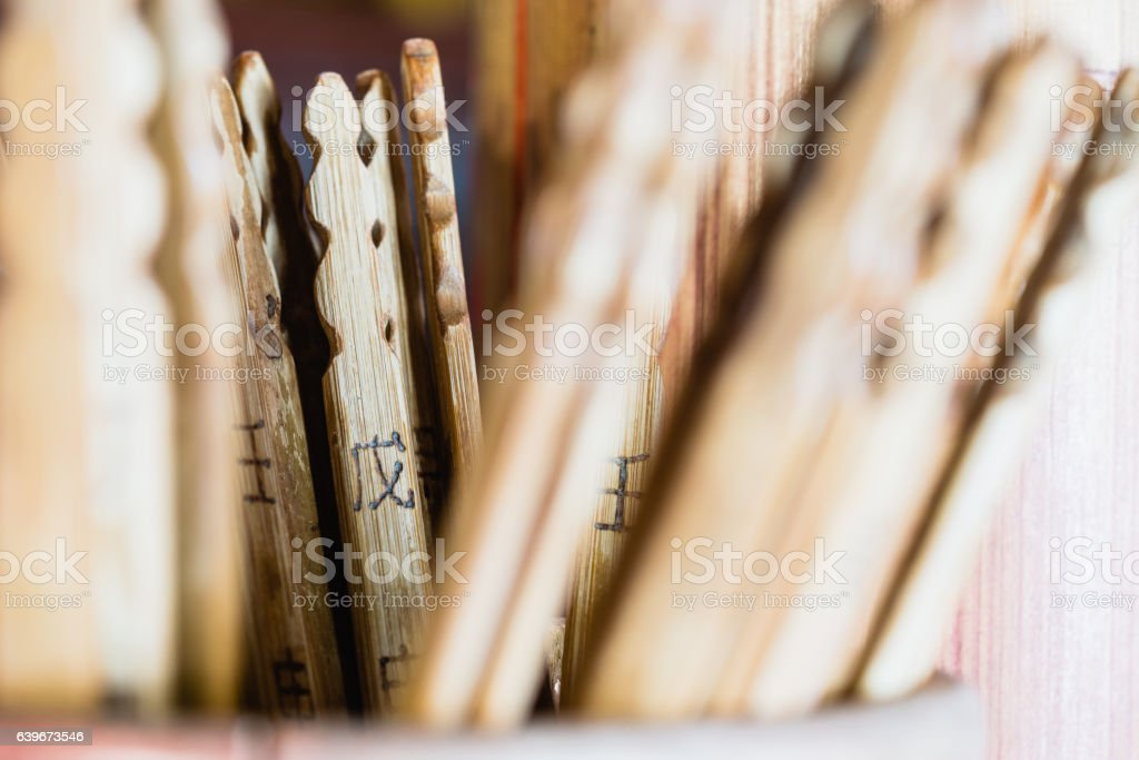 Fortune teller sticks (Esiimsi)  (Selective focus), Abstract bac stock photo
