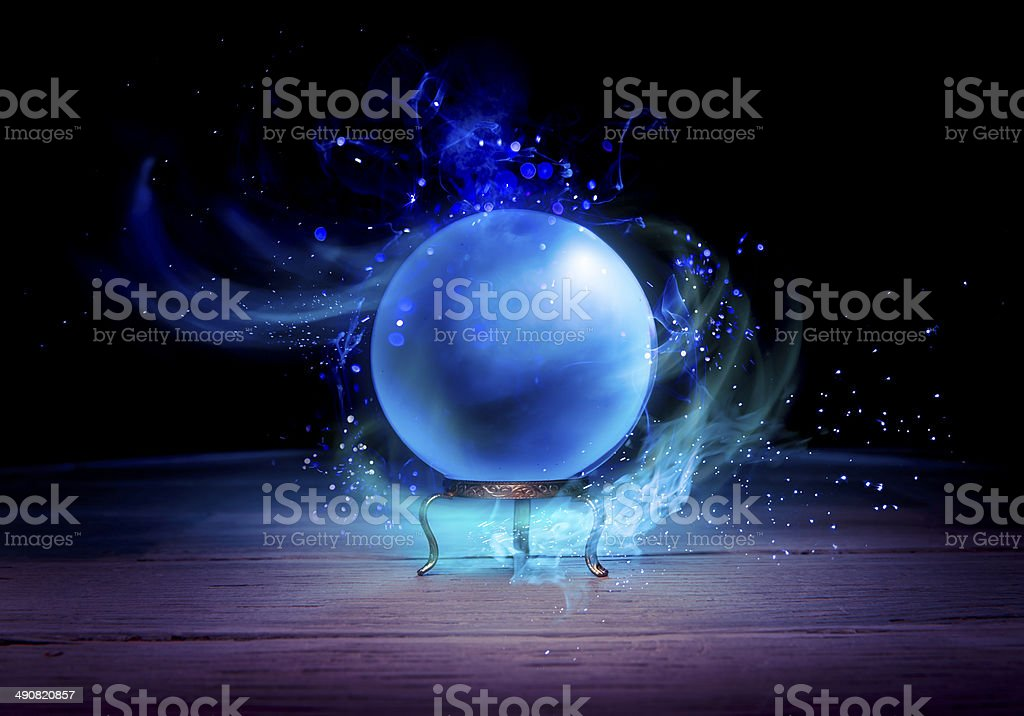 Fortune teller's Crystal Ball with dramatic lighting stock photo