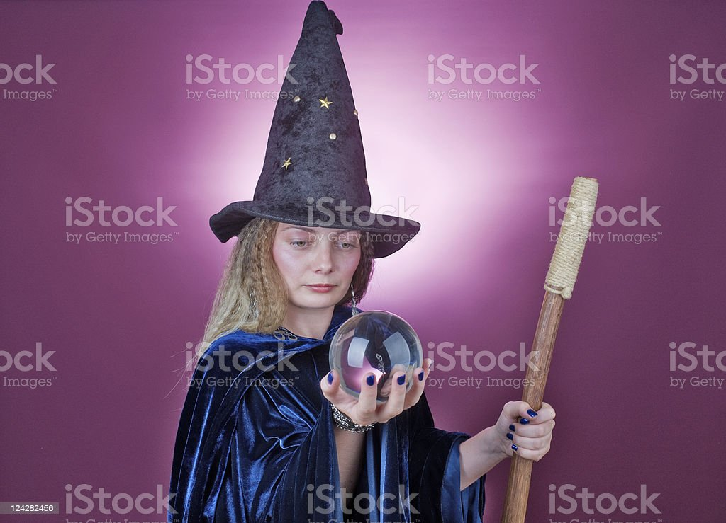 Fortune telling witch stock photo