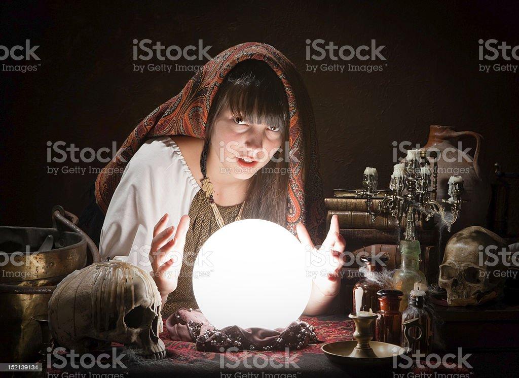 Fortune-teller predicting the future stock photo