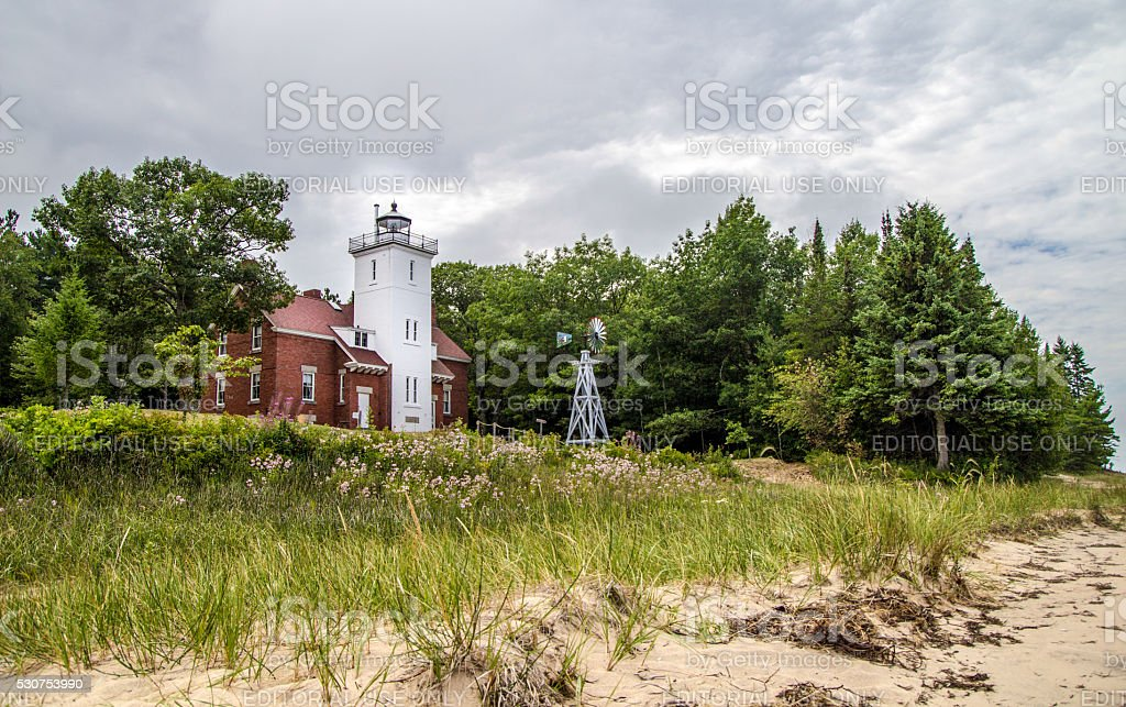 Forty Mile Point Lighthouse On Lake Huron stock photo