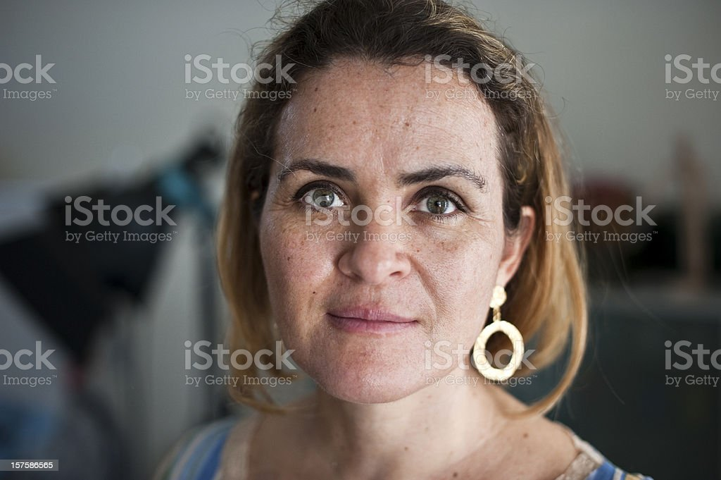 Forty something caucasian woman stock photo