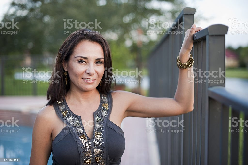 Forty something Hispanic woman posing royalty-free stock photo