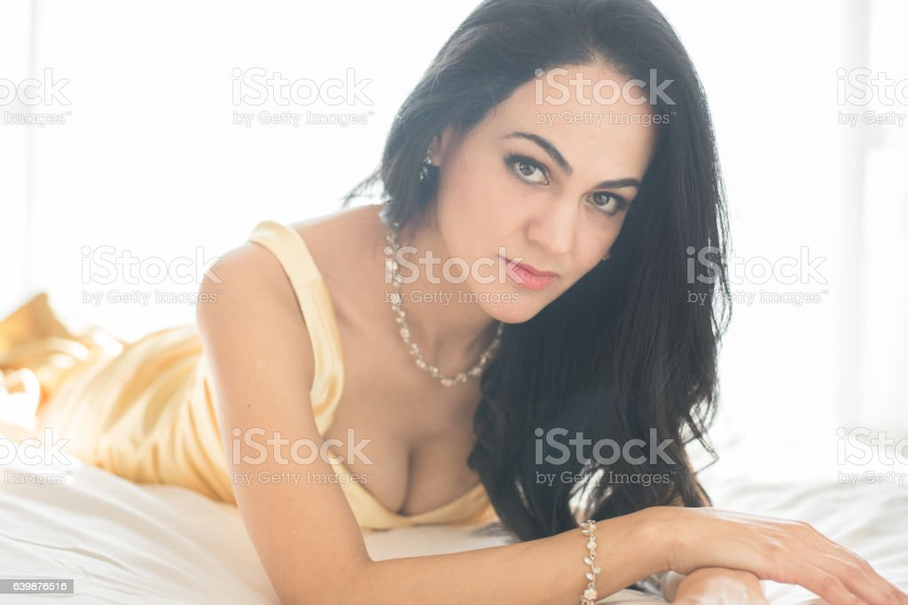 Forty something sexy woman stock photo