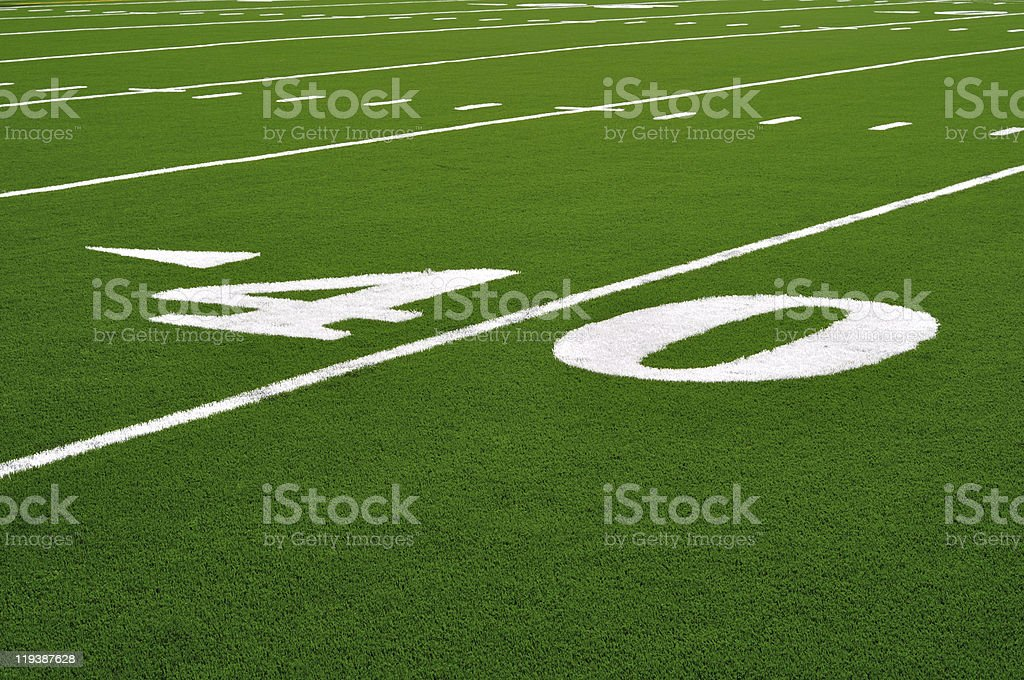 Forty Yard Line on American Football Field royalty-free stock photo