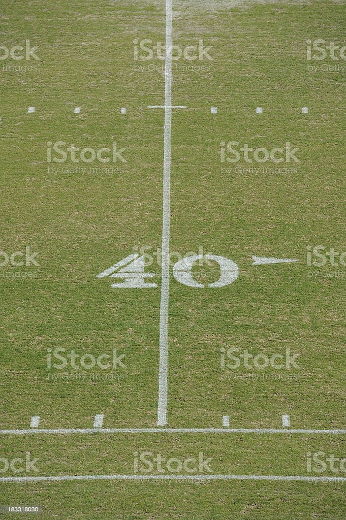 Forty Yard Line on American Football Field stock photo