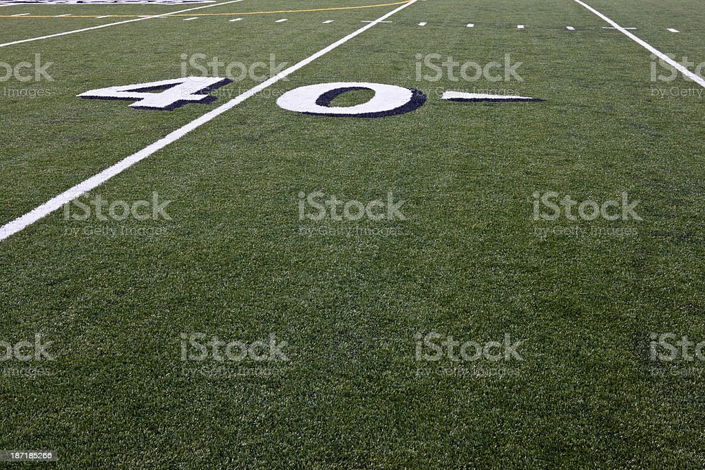 Forty Yard Line on Football Field stock photo