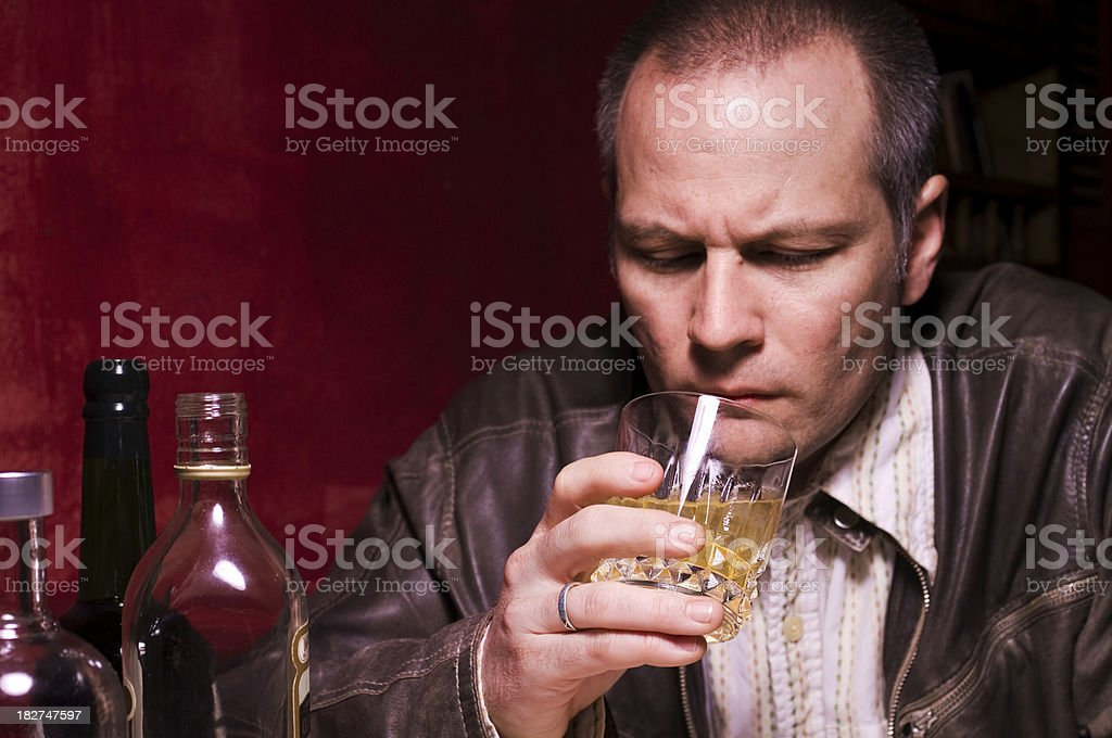 Forty Year Old Man Drinking royalty-free stock photo