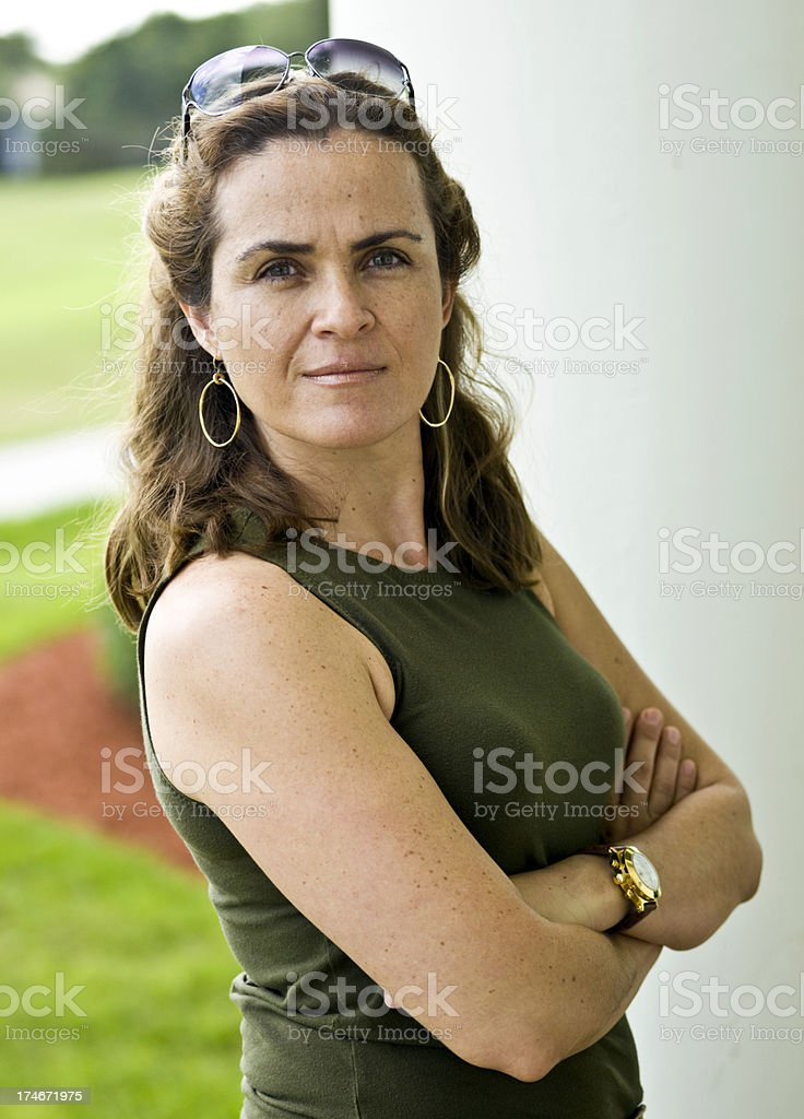 Forty-something at the park (no make up) royalty-free stock photo