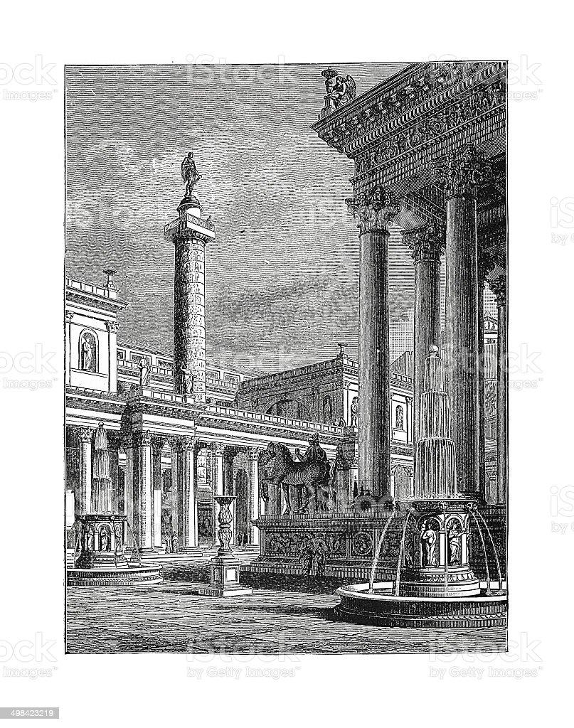 Forum and Column of Trajan (antique engraving) stock photo