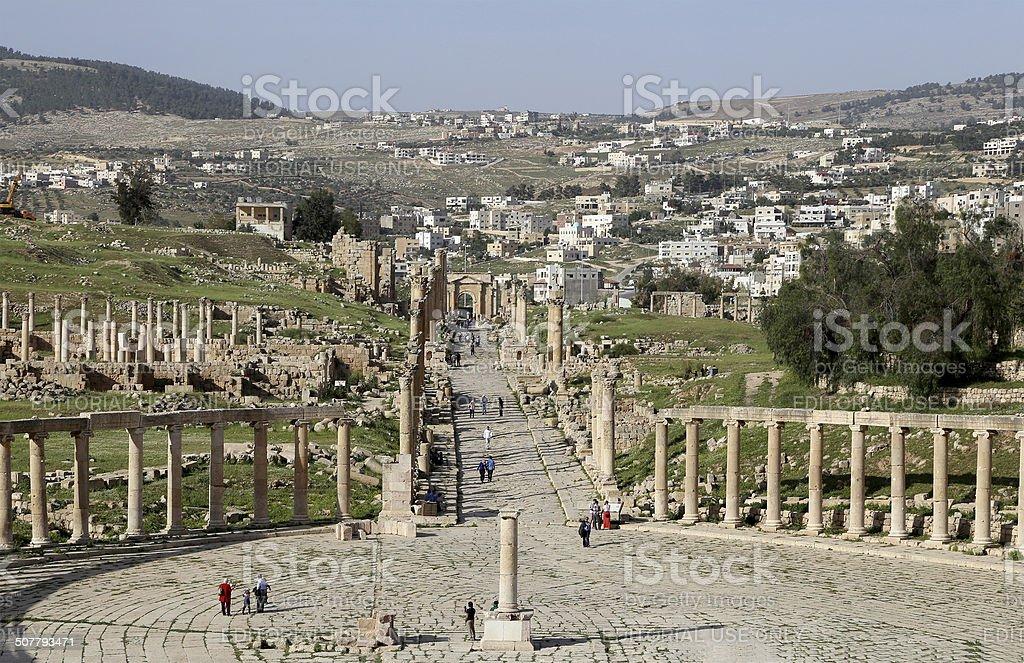 Forum (Oval Plaza)  in Gerasa (Jerash), Jordan. stock photo