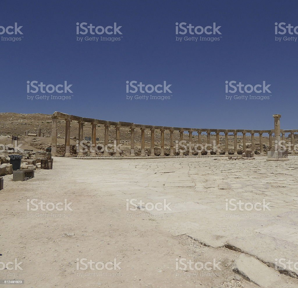 Forum (Oval Plaza) in Gerasa (Jerash), Jordan stock photo