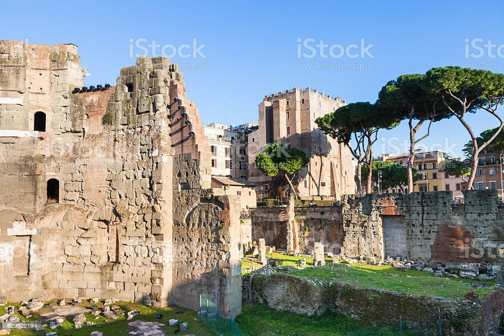 Forum of Nerva and Torre dei Conti in Rome city stock photo
