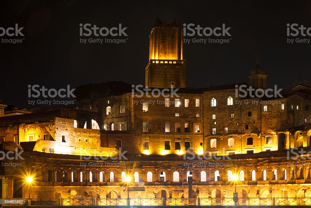 Forum of Trajan at night stock photo