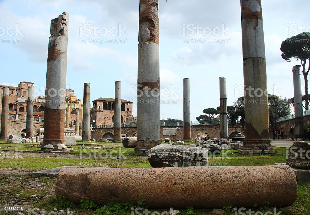 Forum of Trajan, Basilica Ulpia, Rome stock photo