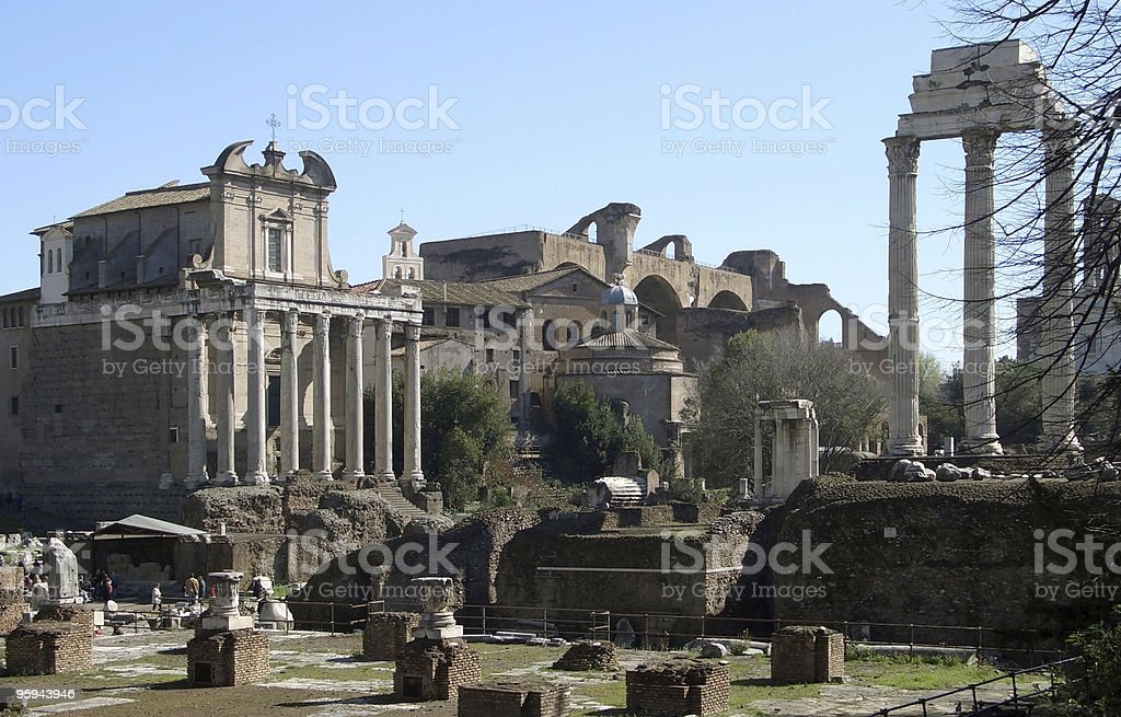 Forum Romanum at summer time royalty-free stock photo