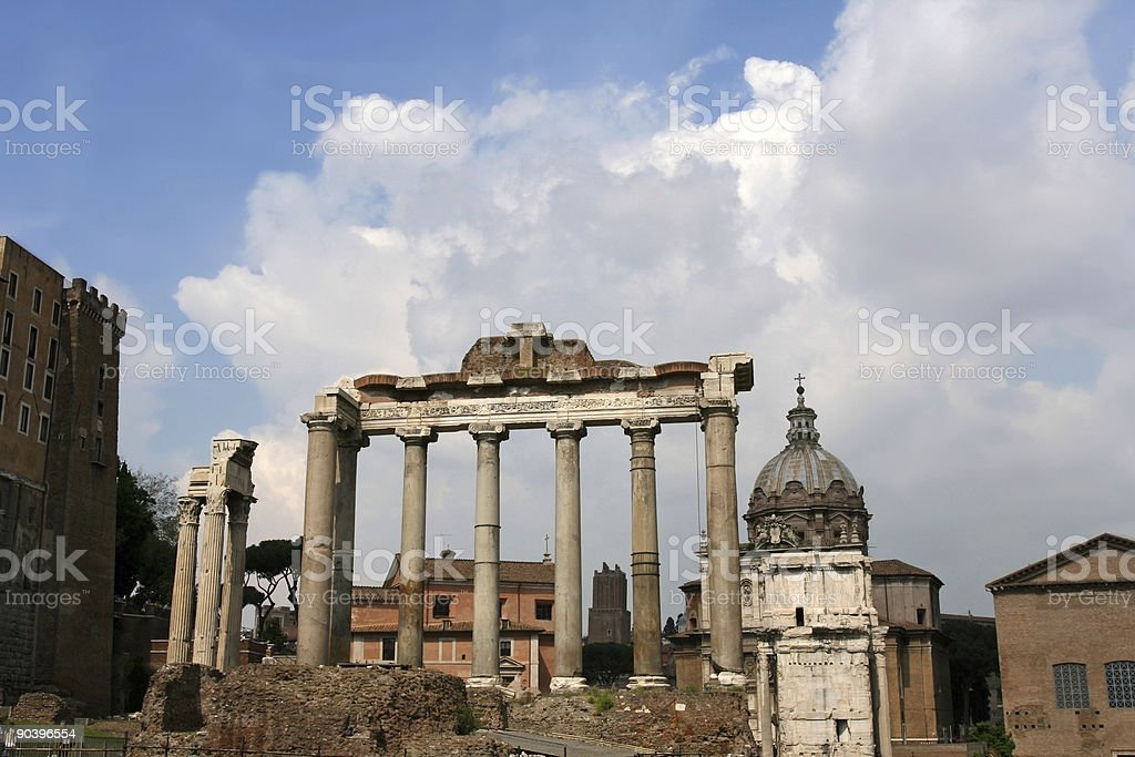 Forum Romanum -  the Temple of Saturn royalty-free stock photo