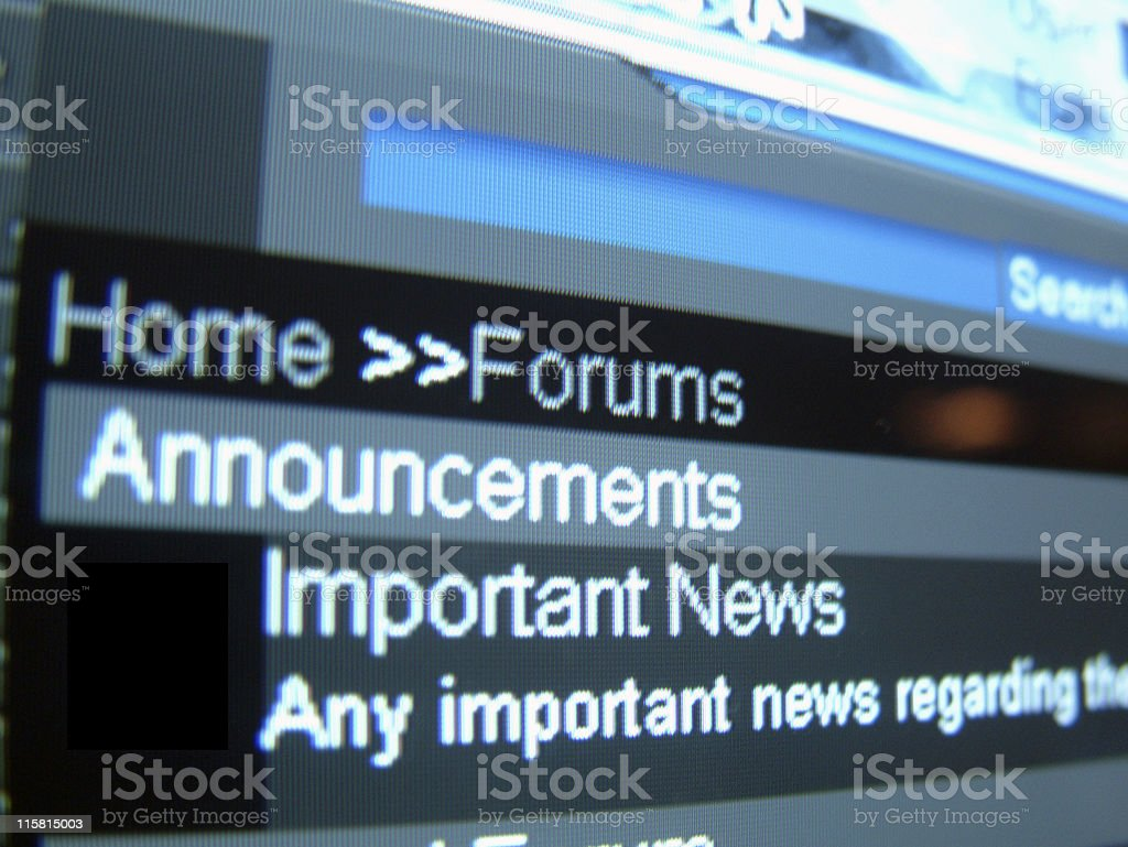 Forums->Important News royalty-free stock photo