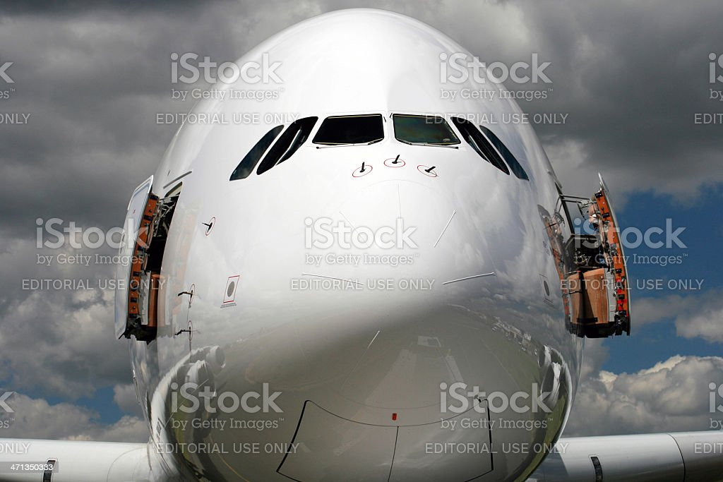 forward fuselage of the A380 stock photo