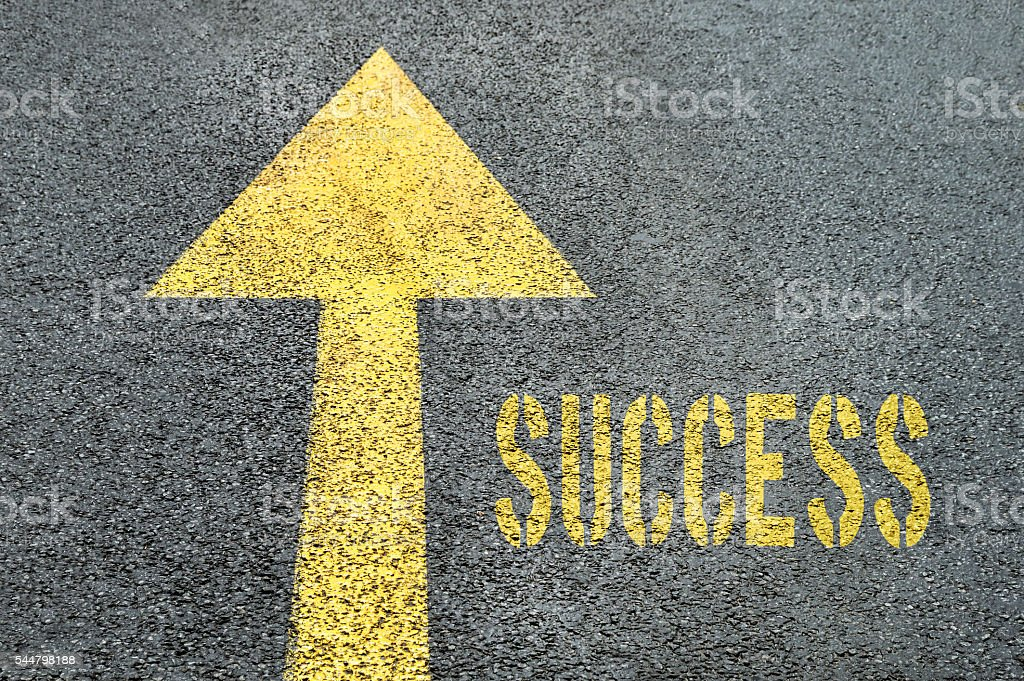 Forward road sign with Success word on the asphalt road. stock photo