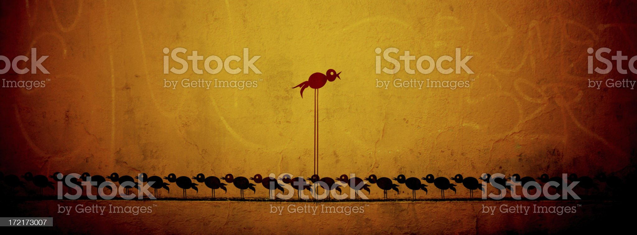 Forward-minded Bird - Cave Drawings Series royalty-free stock photo