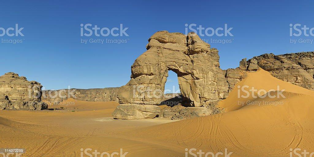 Forzhaga Natural Rock Arch - Akakus Mountains, Sahara, Libya stock photo