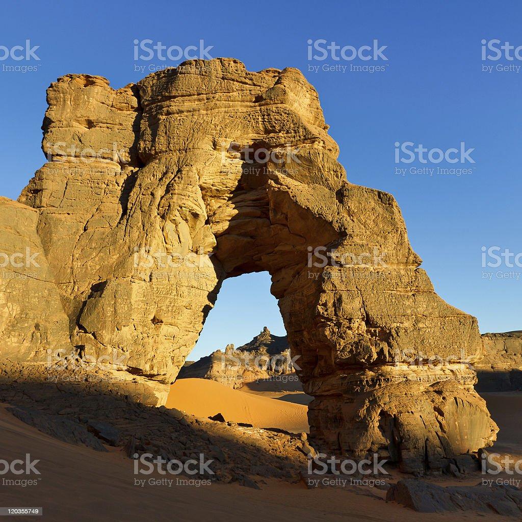 Forzhaga Natural Rock Arch - Akakus (Acacus) Mountains, Sahara, Libya stock photo
