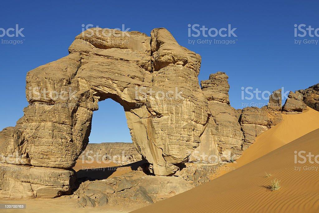 Forzhaga Natural Rock Arch - Akakus (Acacus) Mountains, Sahara stock photo