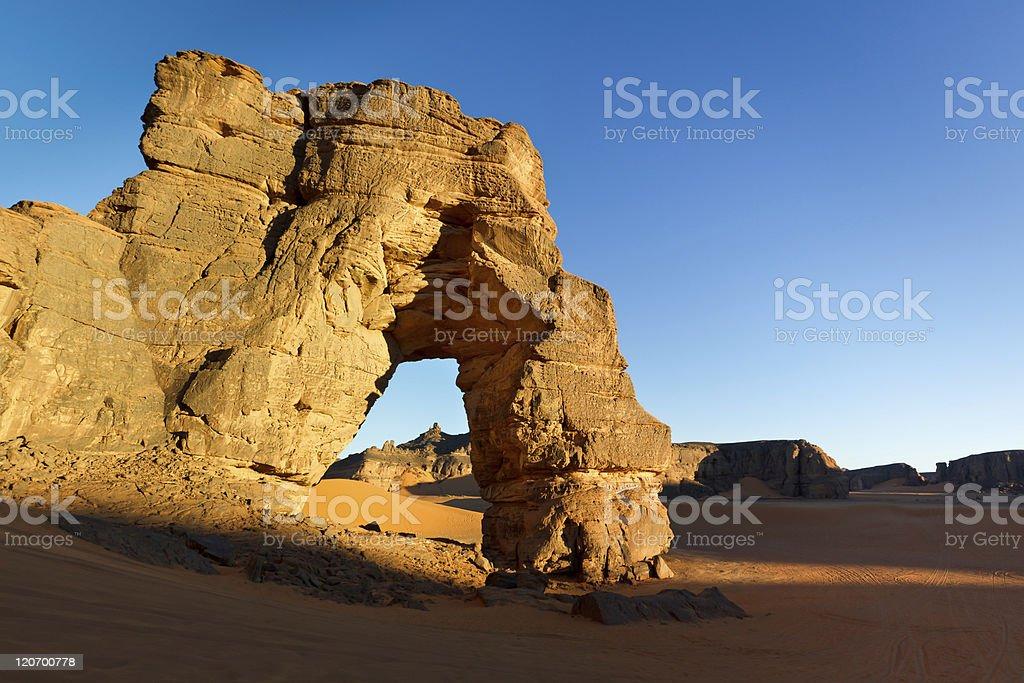 Forzhaga Natural Rock Arch, Akakus (Acacus) Mountains, Sahara stock photo