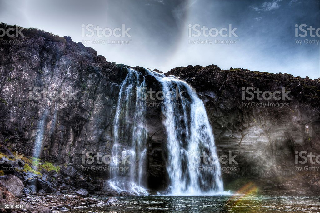 Fossdalur Waterfall at Foss stock photo