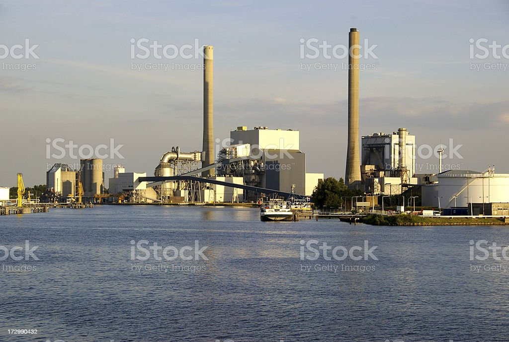 Fossil fuel power plant stock photo