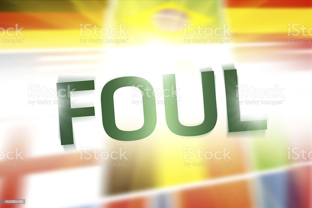 Foul written on abstract flags background royalty-free stock photo