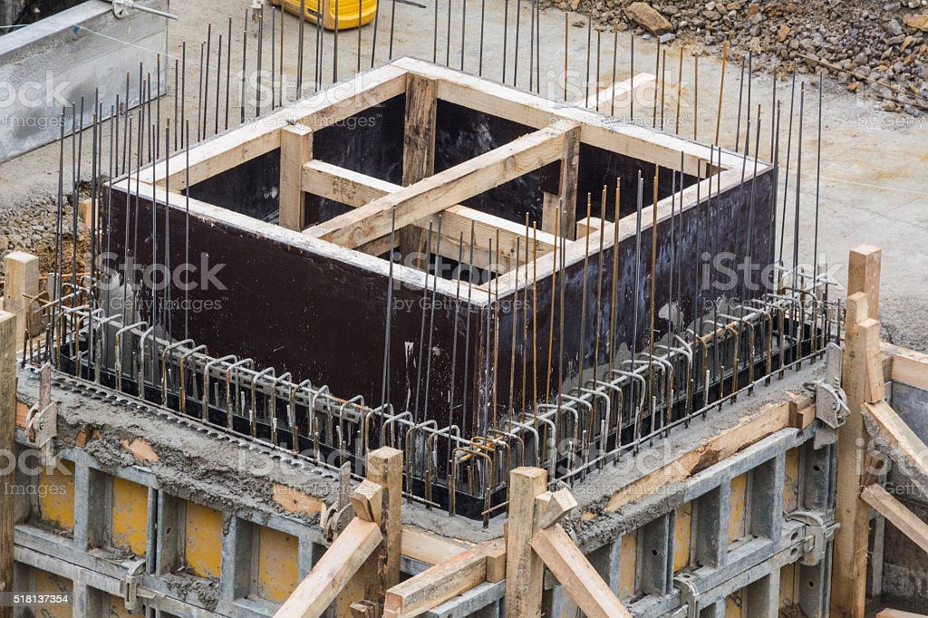 Foundation building of steel and concrete stock photo